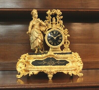 FRENCH 19th CENTURY GILDED MANTLE CLOCK. MOVEMENT OVERHAULED AND RUNNING WELL