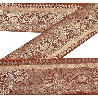 Sanskriti Vintage Sari Border Craft Brown Trim Hand Embroidered Sewing Lace Antiques