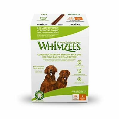 WHIMZEES Natural Dental Dog Treats, 30-Day Pack, Large Stix, 30 Pieces
