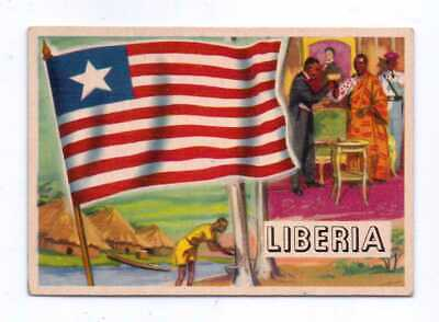 1956 Topps Flags Of The World #25 Liberia Exnm