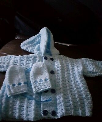 Hand Knitted Baby Boy's Hooded Coat And Mittens