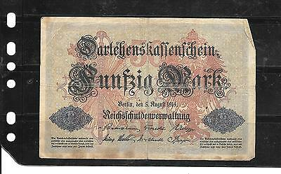 GERMANY GERMAN #49b 1914 50 MARK GOOD CIRCULATED OLD BANKNOTE PAPER MONEY NOTE