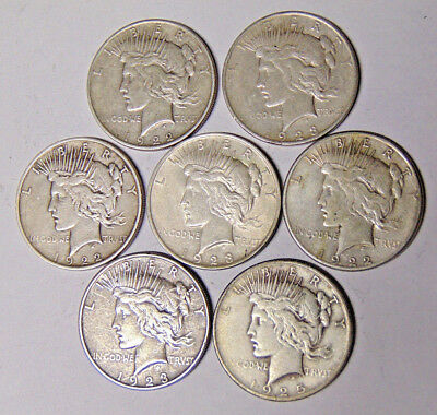 Lot of 7 Peace Silver Dollars: 1922 1922-D 1922-S 1923 1923-D 1923-S 1925
