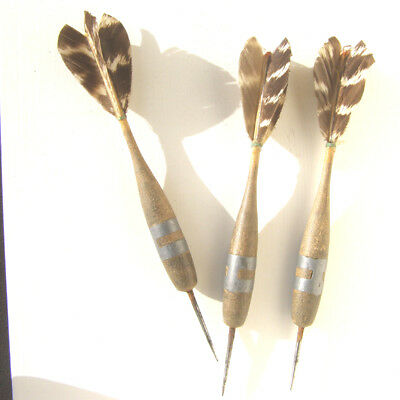 Antique / Vintage Set Of Wooden Darts. Old Set Of Lead Weighted  Wooden Darts