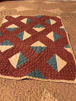Early doll quilt antique brown and blue calico!!!!!!!!!!!!!!!!!! only one!!