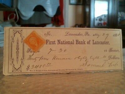 Vintage First National Bank Of Lancaster Civil War Check For $3,488 May 29, 1865
