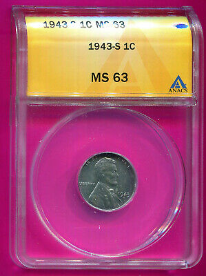 1943 S Lincoln MS63 ANACS Wheat Penny Cent 1C S filled in Error