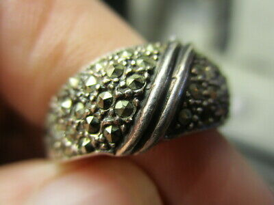Sterling Silver 925 Estate Vintage Marcasite Dome Solid Band Ring Size 8