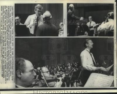 1967 Press Photo Mayor Lindsay and conductor Kostelanetz rehearse in New York