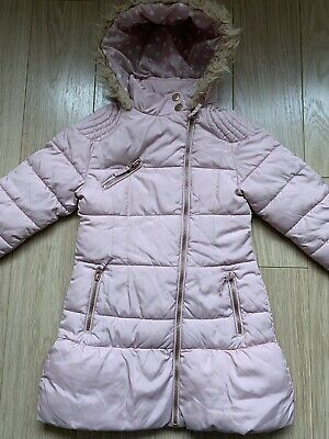 93df575022e4 NEXT DUSKY PINK Fluffy Girls Coat Age 8 - £4.99