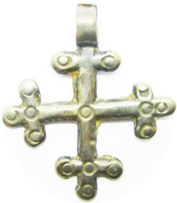 Wearable 12th - 14th century Medieval Silver Crusader Cross Pendant of a Knight