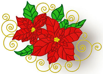Christmas  Poinsettia 10 Machine Embroidery Designs Cd 4 Sizes