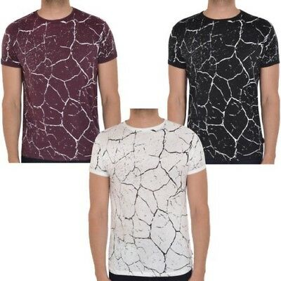 Soul Star Hommes Gowther Col Rond Manches Courtes Coupe Slim Marbre Haut T-Shirt