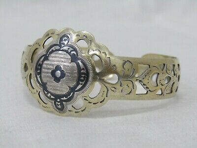 Vintage Russian Vermeil 875 Silver Floral Etched Cuff Bracelet Made in Russia