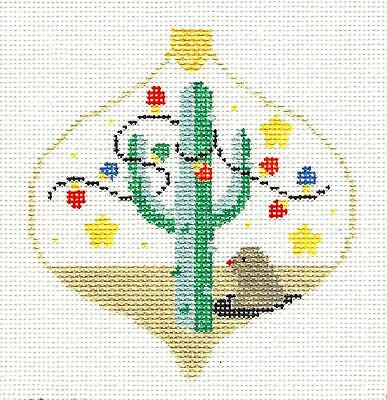 SW Cactus & Lights Bauble handpainted Needlepoint Ornament Canvas Kathy Schenkel