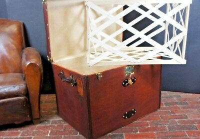 Immaculate Antique French Steamer Trunk With Liner & Key
