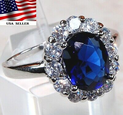 Sale Blue Sapphire & White Topaz 925 Solid Sterling Silver Ring Jewelry Sz 8