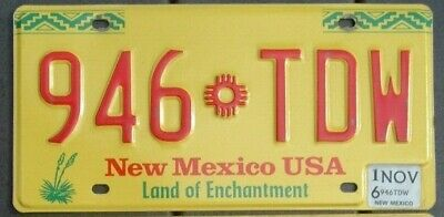 NEW MEXICO  Land of Enchantment  license plate  863 TLP