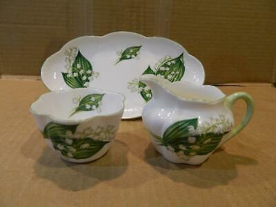 """Shelley """" Lily of the Valley 13822"""" Creamer Sugar & Tray Dainty Shape Vintage"""