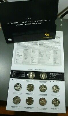 2010 P & D US Mint America the Beautiful Uncirculated 10 Coin Quarter Set 25c