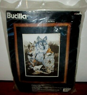 New 1996 Bucilla Crewel Embroidery  Kit Canines Of The Wild  Animals 41346 Wolf