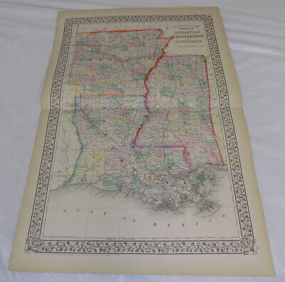 1871 Antique COLOR Map///ARKANSAS, MISSISSIPPI, AND LOUISIANA