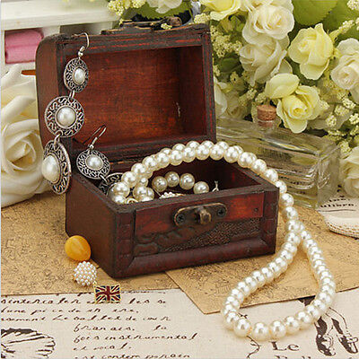 Vintage Small Metal Lock Jewelry Treasure Chest Holder Case Handmade Wooden Box