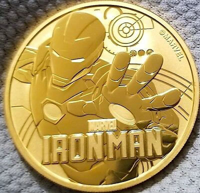 2018 1 oz Tuvalu Iron Man Marvel Series Silver Coin , 24k Gold Gilded F
