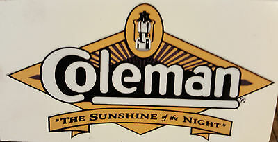 One (1) New Coleman Sunshine Of The Night Sticker Decal Lantern Stove Large Repl
