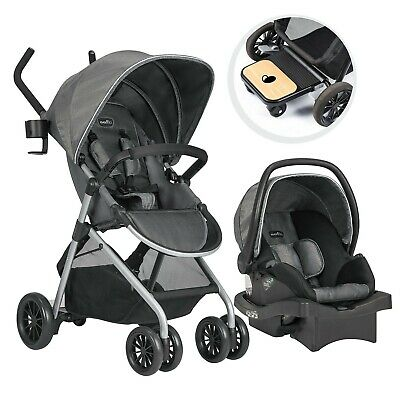 Evenflo Sibby Travel System With Litemax Infant Car Seat Gray Long Sport-Grip