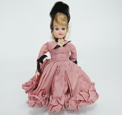 """Hard Plastic Doll with Sleep Eyes 7.5"""" Tall Old Fashioned Dress Bonnet Vintage"""