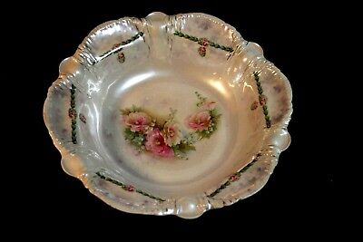 Gorgeous RS Prussia Large Bowl - Tiffany Finish w/ Icicle Mold - Floral - Signed