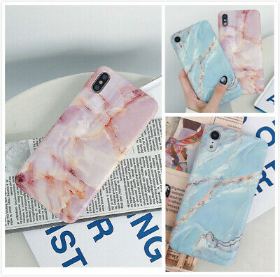 Retro Style Pink Blue Marble Case Soft TPU Protective Phone Covers For iPhone