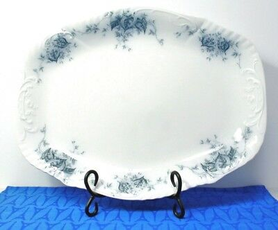 "RARE! Antique Johnson Bros. Begonia Blue 1900 - 1913 16"" Platter, EXC COND!"