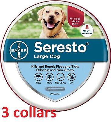 [3 COLLARS] Seresto Flea & Tick 8 Month Collar for Large Dogs over 18 lbs