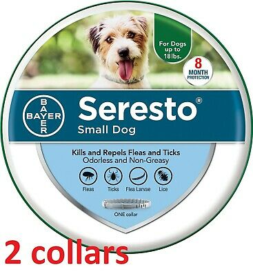 [2 COLLARS] Seresto Flea & Tick 8 Month Collar for Small Dogs under 18 lbs