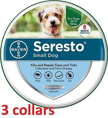 [3 COLLARS] Seresto Flea & Tick 8 Month Collar for Small Dogs under 18 lbs