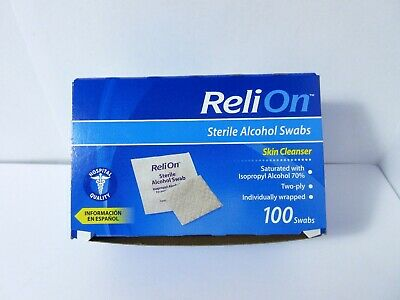 100 ReliOn Sterile Alcohol Swabs Individually Wrapped Skin Cleanser Prep Pads