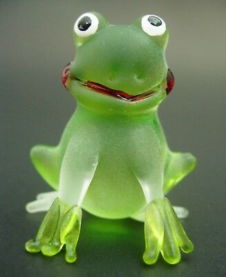 Glass FROG Smiley Face Hand Painted Frosted Green Glass Animal Ornament Gift