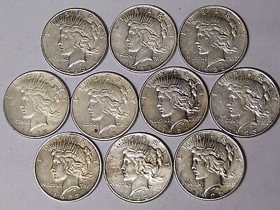 Lot of 10 Peace Silver Dollars 1922 1922-D 1922-S 1923-S 1924 1925 (1030)