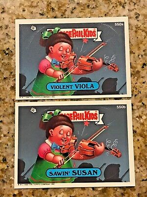 GARBAGE PAIL KIDS 15TH Series SAWIN SUSAN VIOLENT VIOLA 550 a&b USA DIE-CUT1988