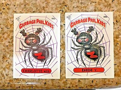 GARBAGE PAIL KIDS 3TH SERIES CHARLOTTE WEB 98a & DIDI T 98b USA DIE-CUT 1986