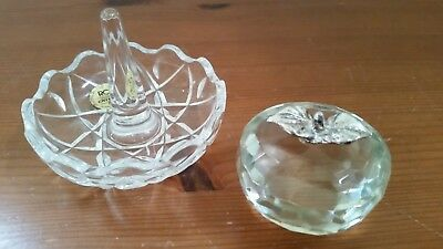 RCR Royal Lead Crystal Ring Holder & Glass Crystal Apple Paperweight Silver Leaf