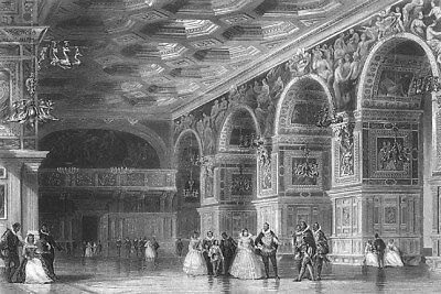 France, FONTAINEBLEAU PALACE ART GALLERY HENRY II ~ Old 1865 Art Print Engraving