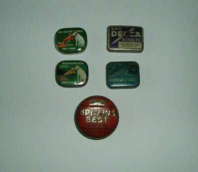 Vintage Gramophone Needle Tins X 5 With Contents