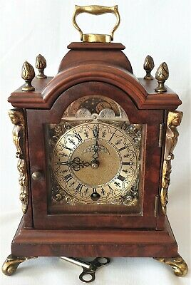 Clock Warmink Wubba Dutch Vintage Mantel Shelf Bedroom Moon Dial Pendulum