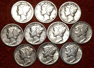 USA .900 Silver Mercury Dimes - 10 Coins --- ALL DIFFERENT DATES -- Listed