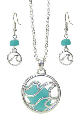 Wave Beach Glass Pendant Women Necklace Set Silver Plated New