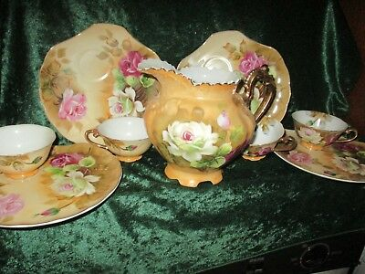 Vintage Lefton China Pitcher & 4 Snack Sets Brown Heritage Floral