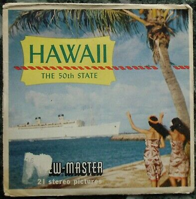 3 View-Master 3D Bildscheiben - Hawaii - The 50Th State + Booklet